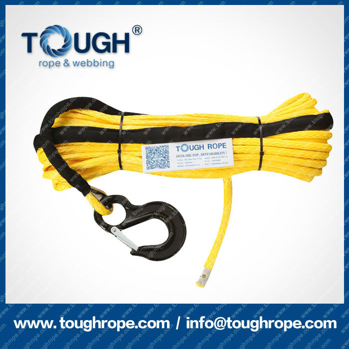 "Different color Dyneema Synthetic Winch Rope with hook thimble sleeve full set by ""Tough Rope"""