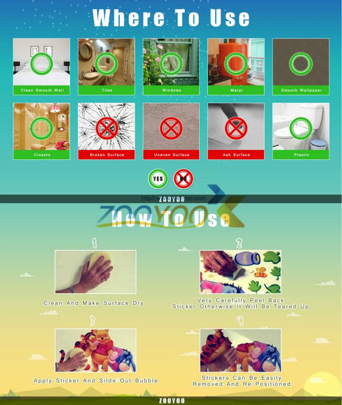140*235cm חמוד צבעוני חיה-PVC, ניתן להסרה מדבקות קיר/ ZooYoo ניו ההגעה חמה מכירת מדבקות קיר עבור עיצוב הבית ZooYoo1213