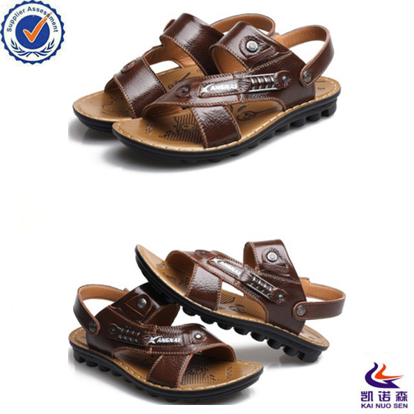 new design ventilate beach mens leather sandals
