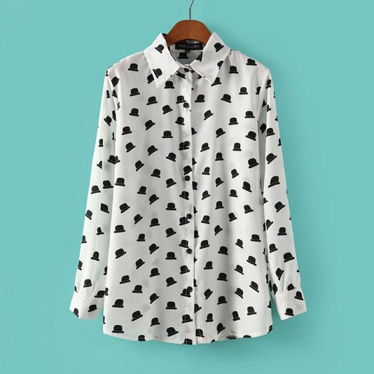 Весна новый бренд женщин рубашка длинный рукав отложным воротником милый мультфильм шляпа печатных блузка бело синий jed0502