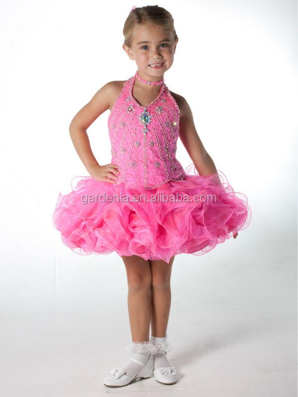 el único concurso de niñas de neón de color rosa vestido corto de ...