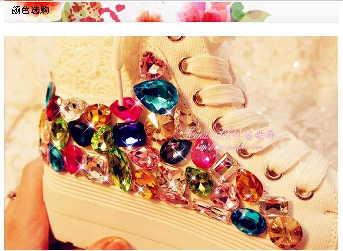 Free shipping 2016 Lace Rainbow Gem Rhinestone handmade canvas high-top platform shoes female models