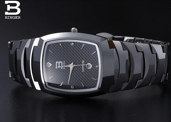 Продвижение Торговой Марки стали высокого качества кварцевые часы Бингер новый черный циферблат Квадратной часы женщины водонепроницаемый оригинал часы наручные женские