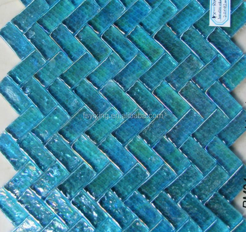 8mm dikte rechthoek visgraat blauwe iriserende glasmozaïek rm24 ...