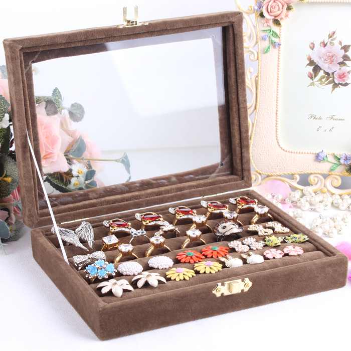 Small ring jewelry box glass cover ring storage box stud earring