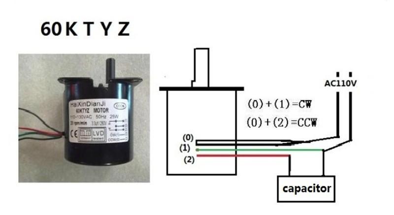 60KTYZ ac 110v 20w 25 об/мин двигатель gear микро переменного тока с редуктором, реверсивные постоянного магнита Синхронный электропривод
