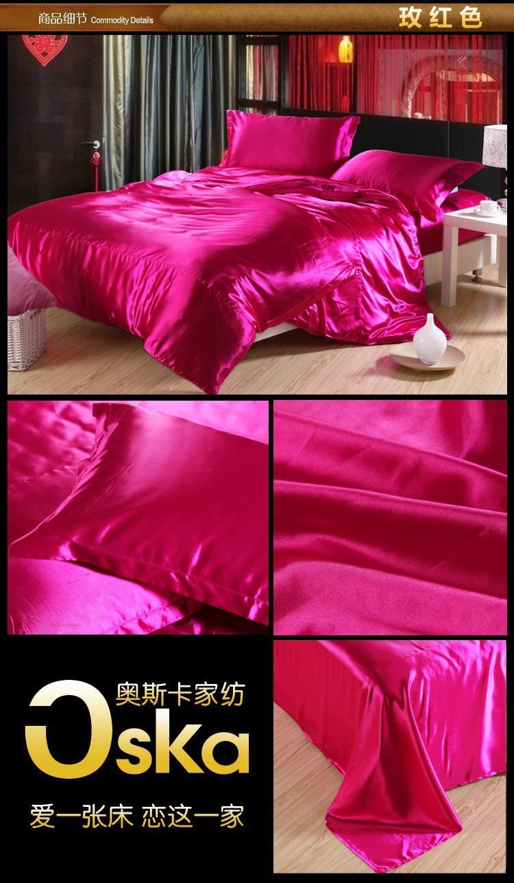 best deals silk hot pink rose red black bedding set super ca