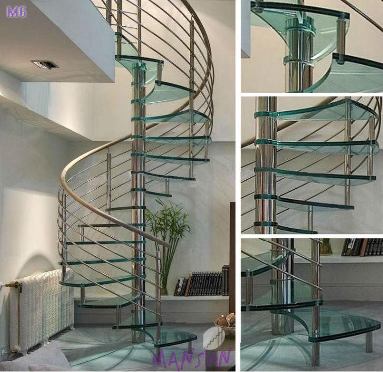 diseo redondo material de vidrio templado de acero inoxidable escalera de caracol