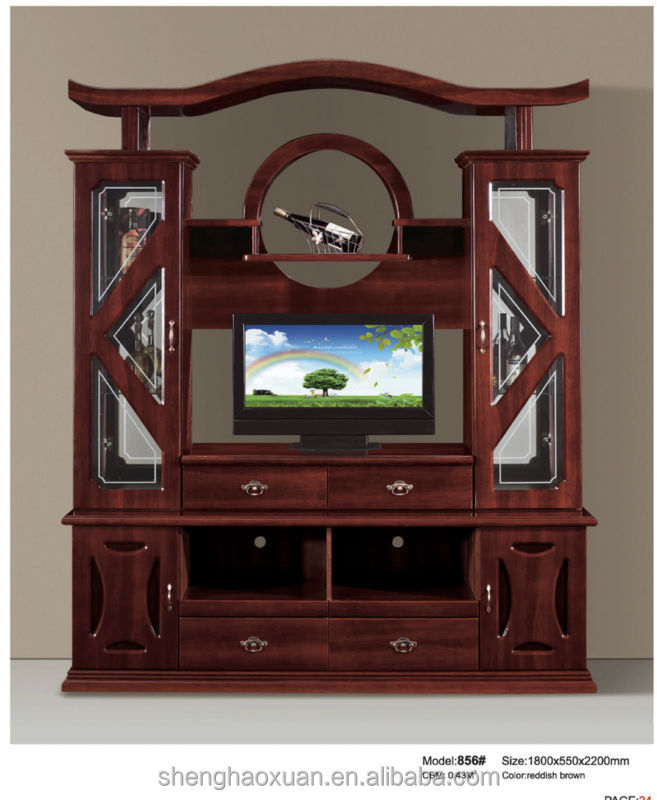 Hot vente chinois antique meuble tv avec vitrine 856 panneau mural avec unite lcd tv lcd for Solde meuble tele