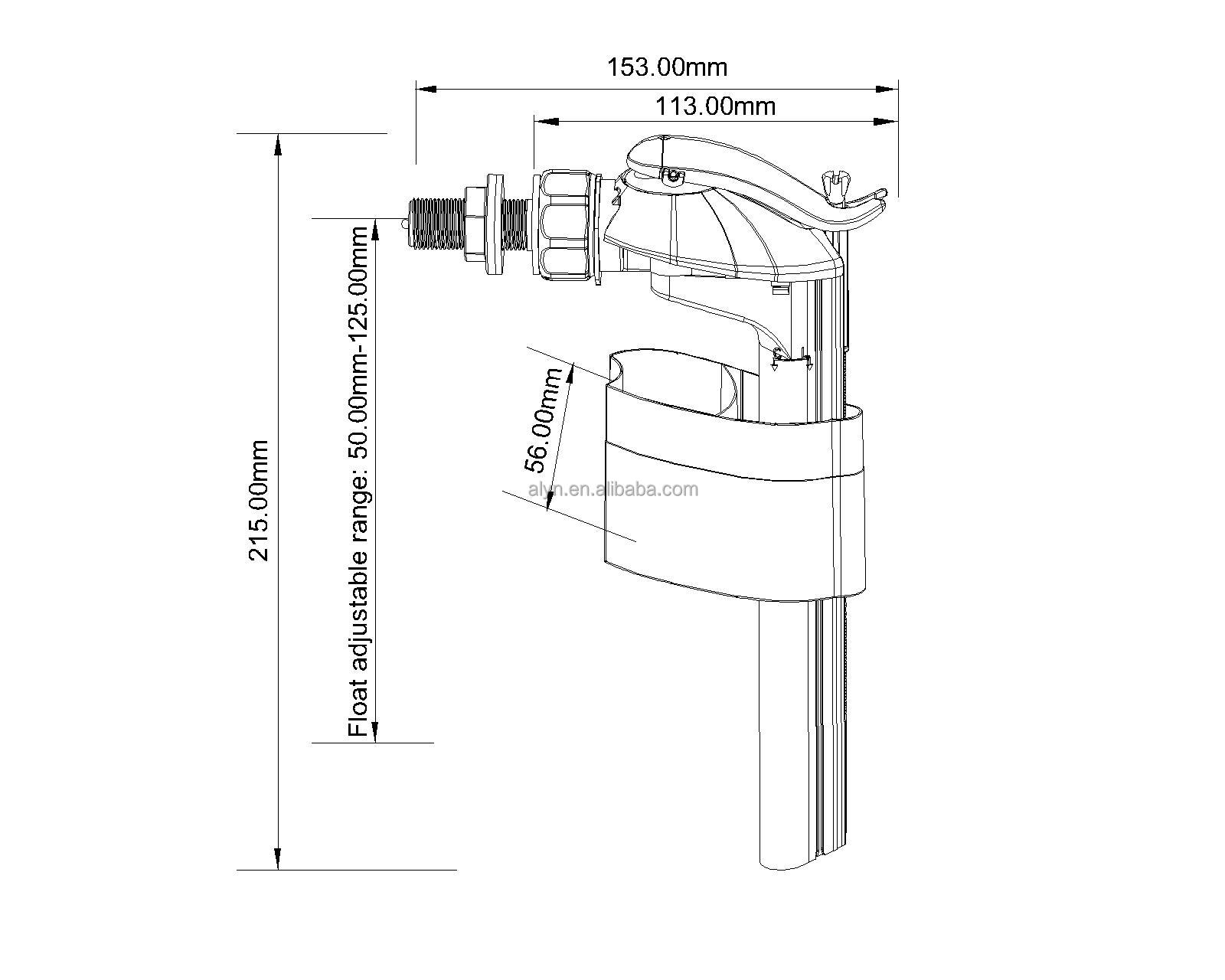 Side fill valve with plastic shank