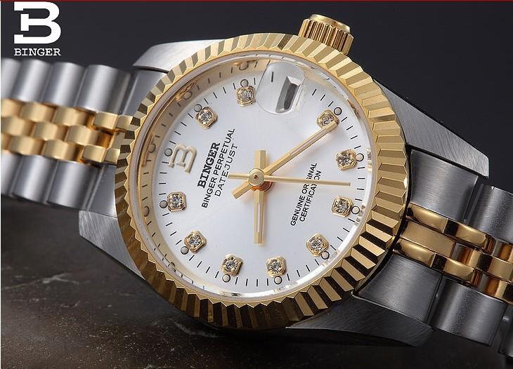 Подлинная Марка Бингер Новый 2016 18 К Белый Золотые Часы Дамской одежды Платье Часы CZ Алмазов Автоматические Наручные Часы Дата 5 цвета