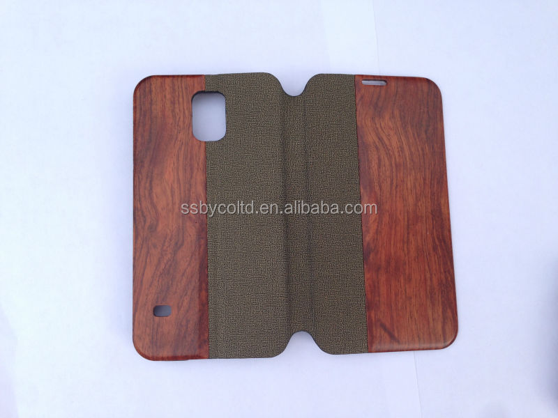 2014 New arrive Wood Leather flip Case For Samsung S5