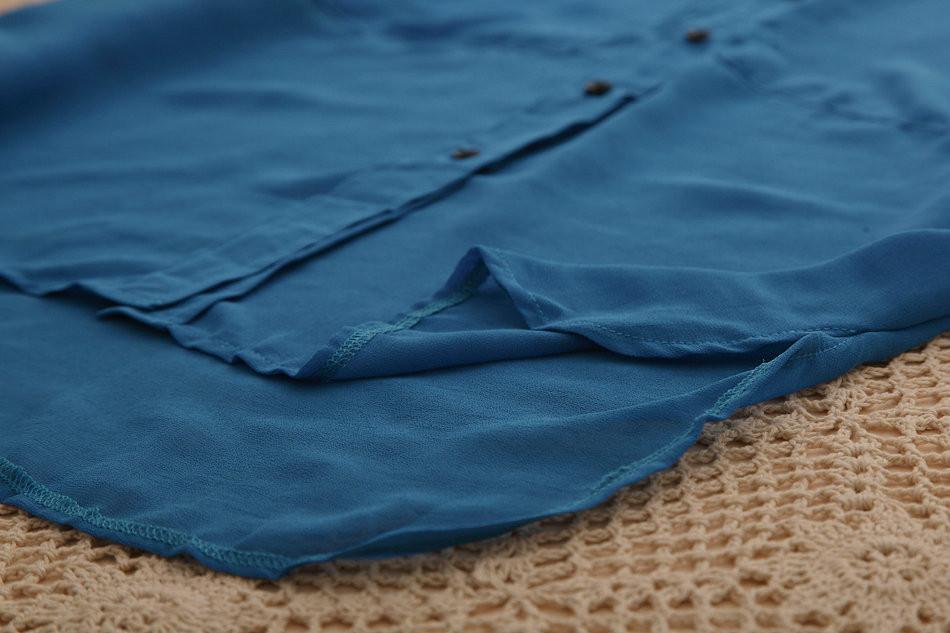 1141 потерять карман блузки рубашки blusas новая мода женская летняя плюс Размер рубашки шифон шелковые топы для женщин