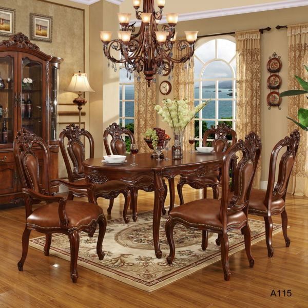 antique style solid wood dining table set price and chair on sell WA136 . - Middle East And America Style Antique Style Solid Wood Dining Table