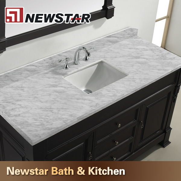 Prefab white carrera marble vanity top with undermount for Prefab vanity