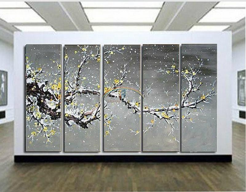 Buy 2016 Home Decor Real Picture Winter Huge Blossom Oil Painting Wall Art Hand-painted Modern On Canvas Palette Knife free shipping cheap