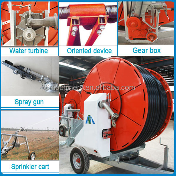 Agricultural traveling water hose reel rain gun irrigation