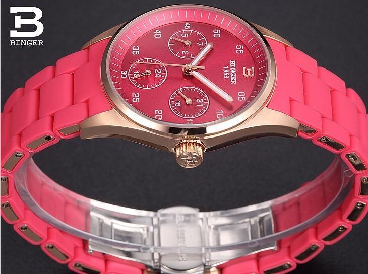 Горячее Надувательство Бренд Бингер Сексуальная Фиолетовый Часы Розовое Золото Девушка япония Кварцевые Наручные Часы Три Круглый Дата Календарь 24 Часов Любовника часы