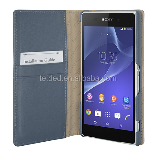 TETDED Premium Leather Case for Sony Xperia Z2 D6502 / D6503 / D6543 -- Gerzat III (Prestige Blue)