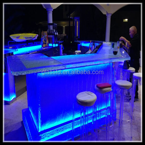 De luxe en verre comptoirs, led-lit, bar et club de nuit de meubles