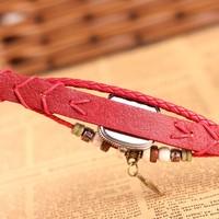 антикварные старинные часы кожаный браслет ручной вязать прекрасный кролик высокого качества для дамы dropship высочайшего качества