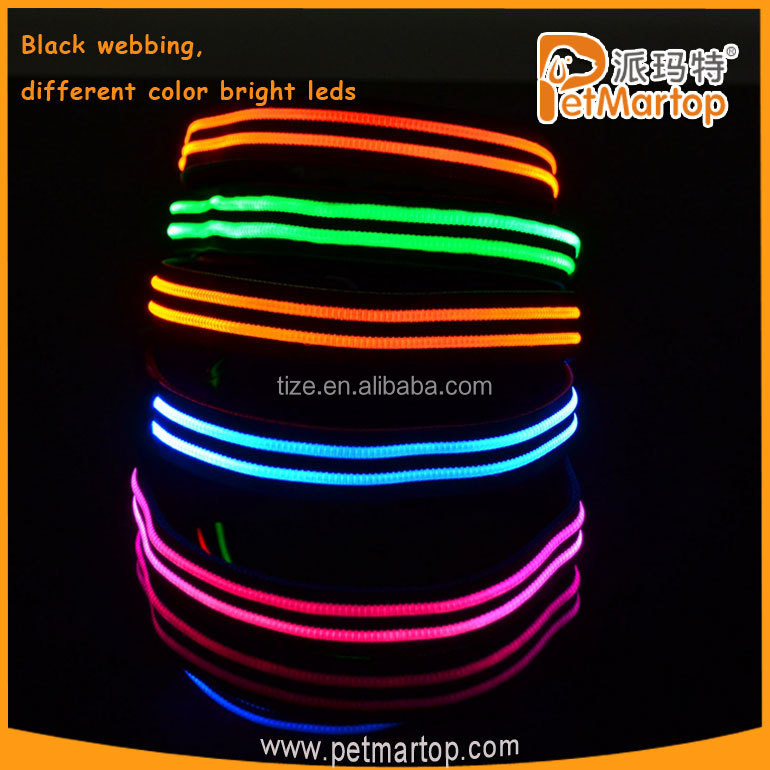LED Dog Collar TZ-PET5000 Double-line LED Flashing Dog Collar Weatherproof, Bright Light