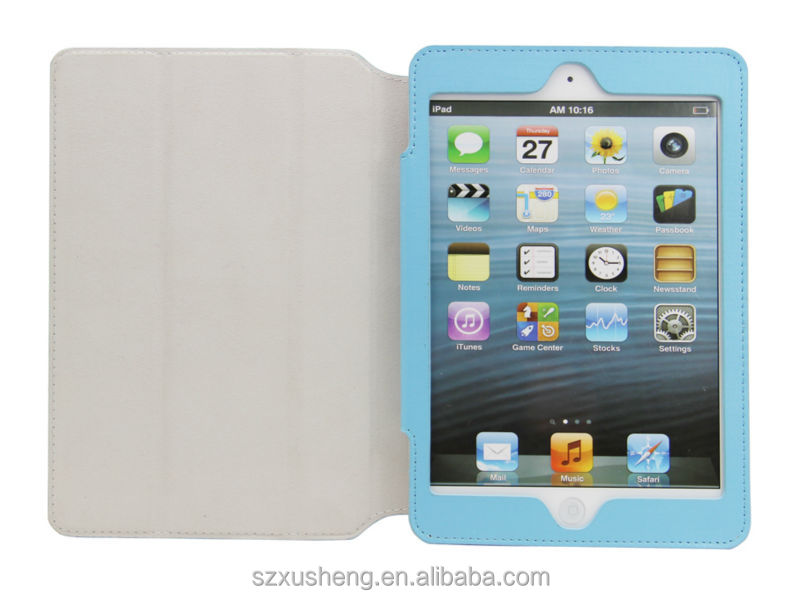 pu materials flip stand book style leather case cover for ipad mini