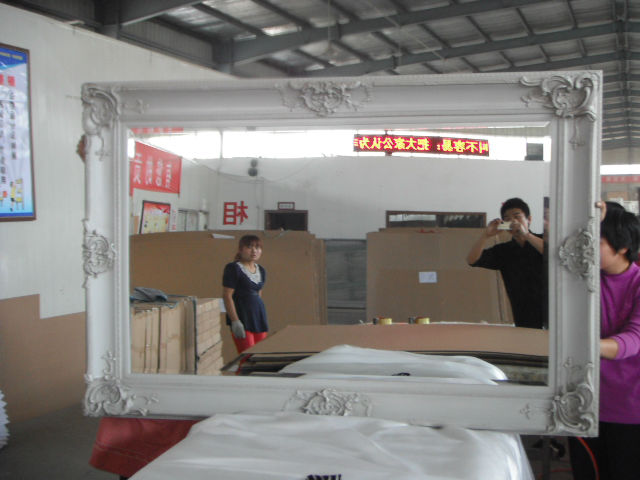 Wall hanging solid wood frame huge beauty salon mirror in for Solid salon