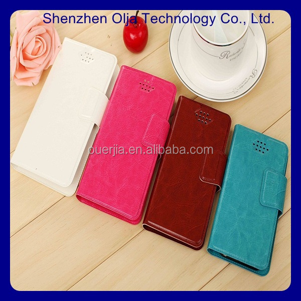 Olja Hot Sale DIY 6 inch leather phone case, two mobile phone leather case for universal design