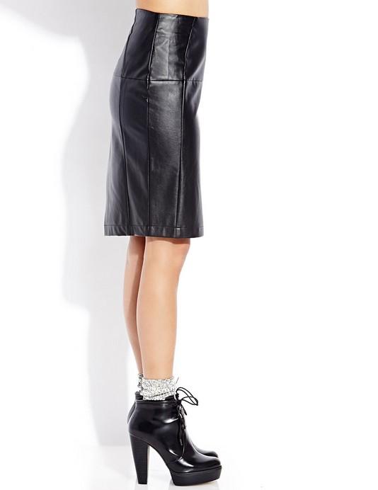 wholesale s black leather look pu pencil skirt