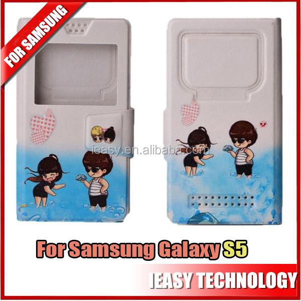 2014 high quality leather flip case for samsung s5