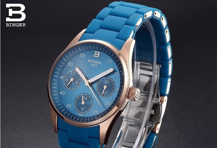 Роскошный Япония движение Бингер бренд кварцевые часы женщины моды зеленый платье наручные часы 24 часы дата календарь Золотые часы
