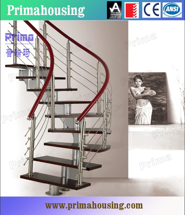 Curved stair with galvanized steel handrails prefabricated stairs outdoor pr c11 view