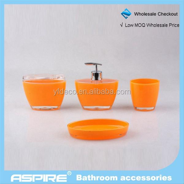 Salle de bains accessoires orange vif acrylique salle de bains ...