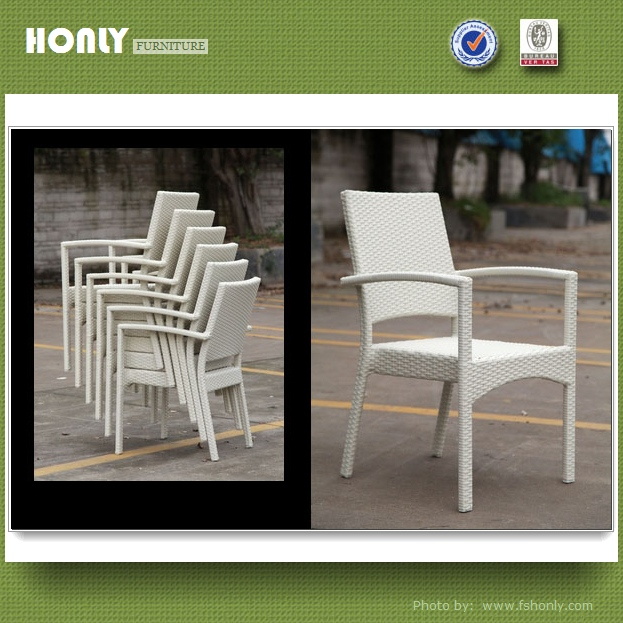 White rattan chair outdoor furniture stackable outdoor chair