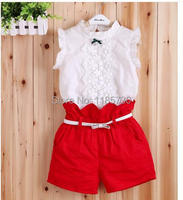 Комплект одежды для девочек CC New Summer Children's Baby Girl Mini Fashion Bow Feifei Sleeve Vest + Shorts Pants Two Pcs Set /3/8 old AA