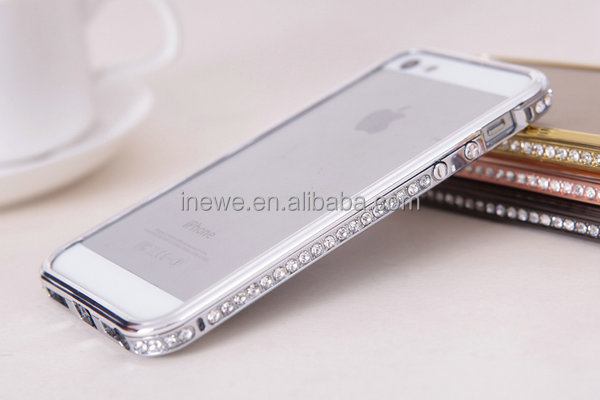 Bling Bling Rhinestone Metal Aluminum Bumper Case for iPhone 5 5S