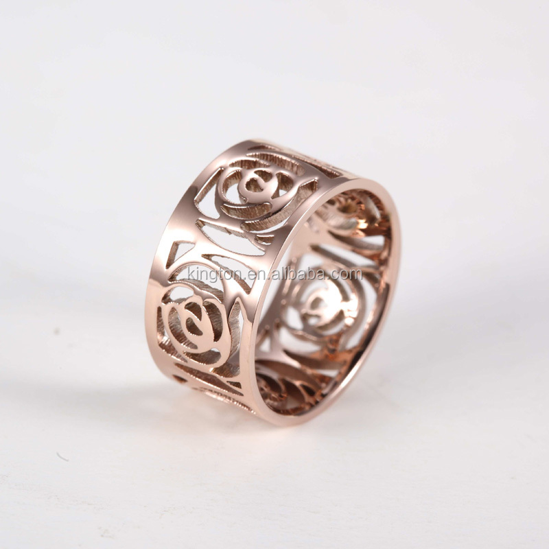 wholesale flower shaped engagement rings hollow rose gold ring. Black Bedroom Furniture Sets. Home Design Ideas