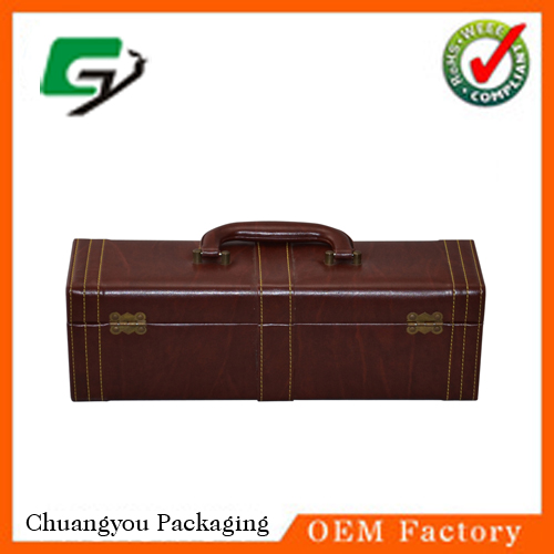 Portable PU Leather Wine Box,Leather Wine Carrier,Red Wine Box