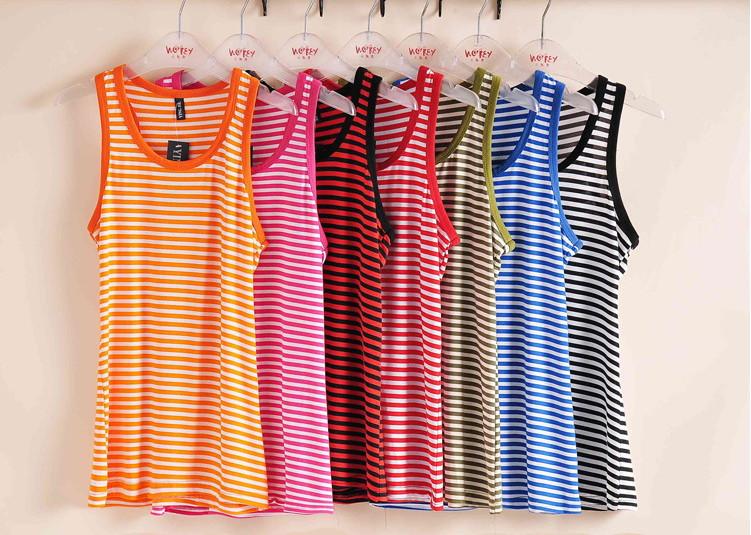 2014 summer Женщины's Хлопок Жилет Striped Жилет Верх tanks tee Женщины Верхs 8 Цветs GFH8