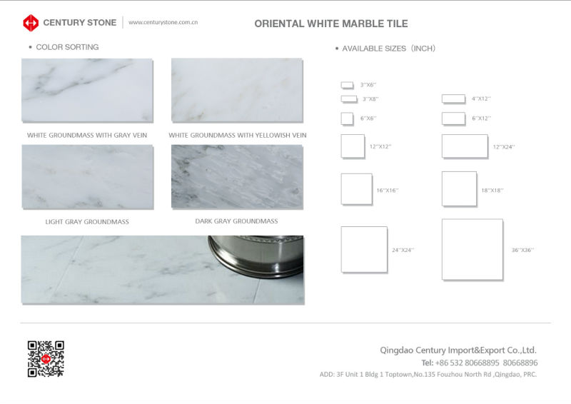 standard size asian white marble facotry supplying hall floor tiles