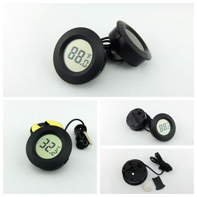Car Use Digital Round Thermometer With Four Colors:Red/black/white/blue