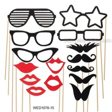 15 pcs Party Masks Photo Booth Props Mustache On A Stick Wedding Decoration Favor Funny Mask