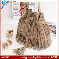 Big size woman shoulder bag with long strip Vintage Bucket style tassel single shoulder crossbody pouch