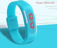 Trendly black Ultra Thin Sports Silicone Digital LED Sports Bracelet Wrist Watch