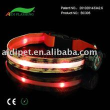 PU leather LED reflective dog collars with animal pattern