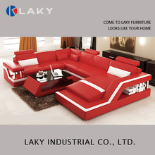 LK-LS1538 Fashion red round hotel lobby led sofa, light up furniture