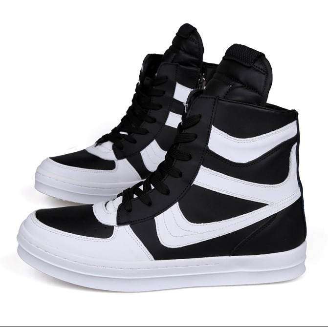 Free Shipping 2015 new fashion rick owen leather high-top male casual shoes side zipper rivet men\`s ankle boots flats Punk shoes-1 (2)