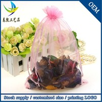 Wholesale In Stock 17x23cm Logo Printed Organza Wedding Gift Candy Pouch Bags
