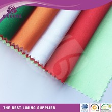 100% polyester bright woven plain dyed silk touched satin fabric with color swatch wholesale lining fabric